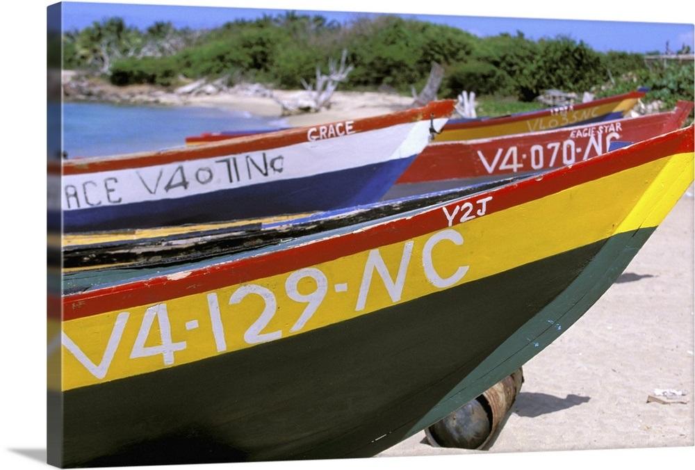 "Nevis Canvas Art Print /""Caribbean Fishing boats/"" Pinney/'s Beach"