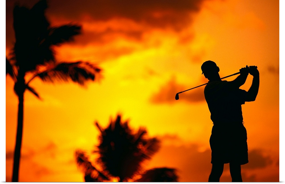 Poster Print Wall Art entitled Close-Up Of Man Swinging, Silhouetted In arancia