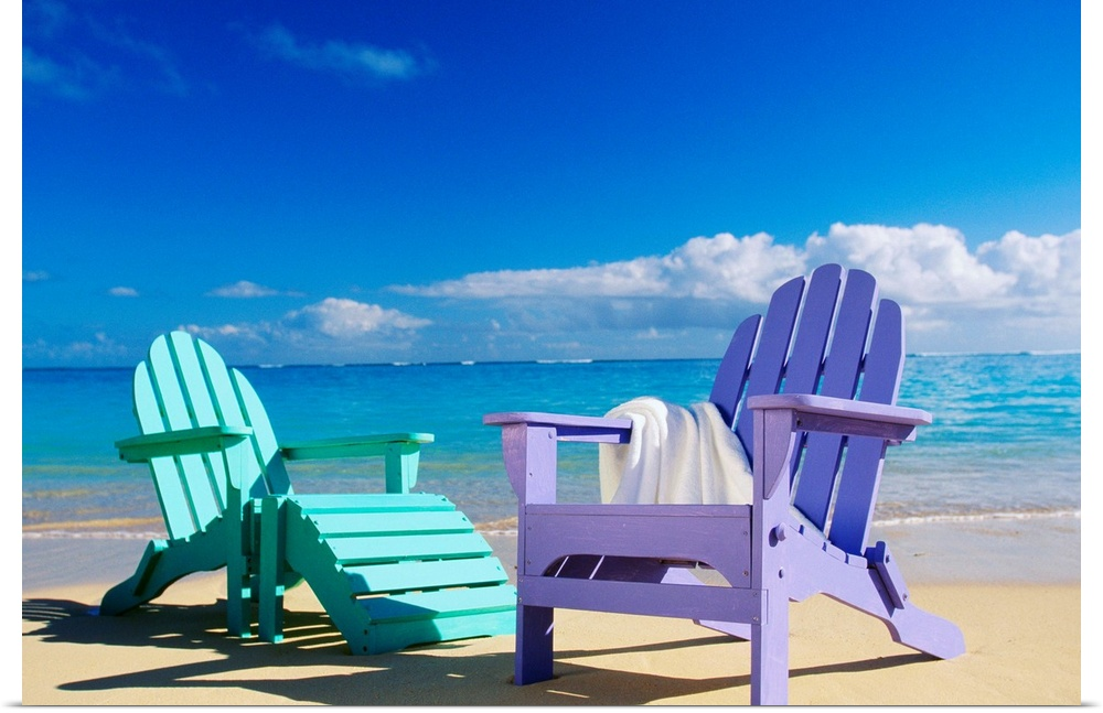Poster Print Wall Art entitled Coloreeful Beach Chairs On Beach, Calm Waves