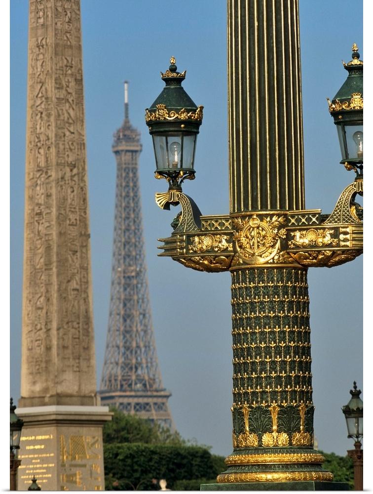 Poster Print Wall Art entitled Eiffel Tower And Street Lights, Paris, France