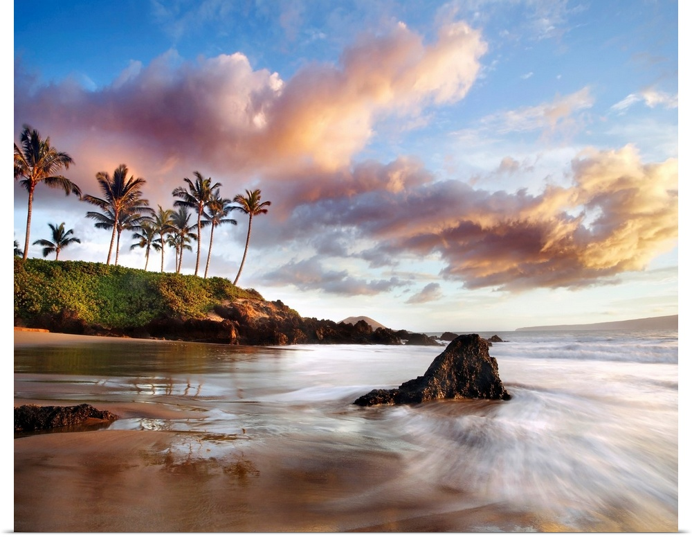 Poster Print Wall Art entitled Hawaii, Maui, Makena, Secret Beach At Sunset