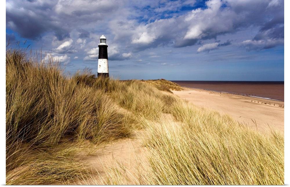 Poster Print Wall Art entitled Lighthouse On Beach, Humberside, England