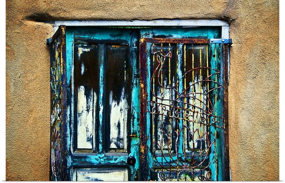 Poster Print Wall Art entitled Santa Fe Doors, New Mexico