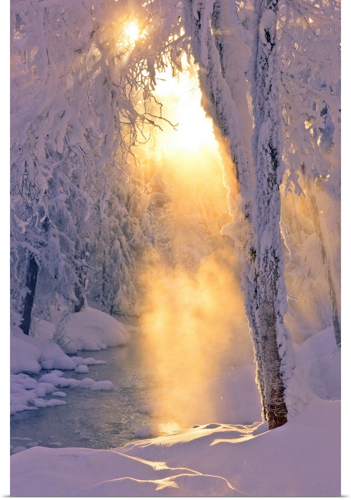 Poster Print Wall Art entitled Small stream running through a hoarfrost coverosso