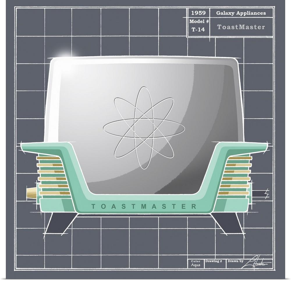 Poster Print Wall Art entitled Galaxy Toaster - Aqua