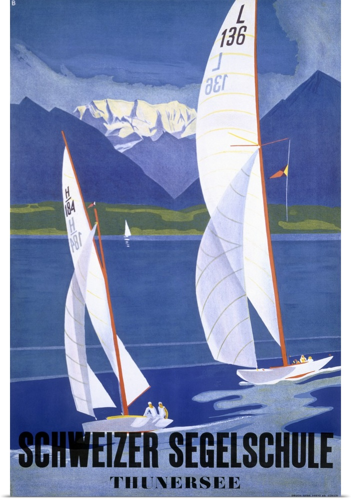 Poster Print Wall Art entitled Segelschule Sailing Academy, Thunersee, Vintage