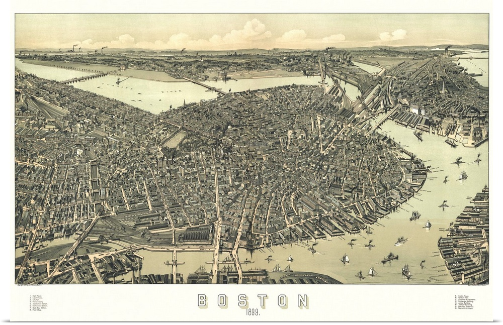 Poster Print Wall Art entitled Vintage Birds Eye View Map of Boston,