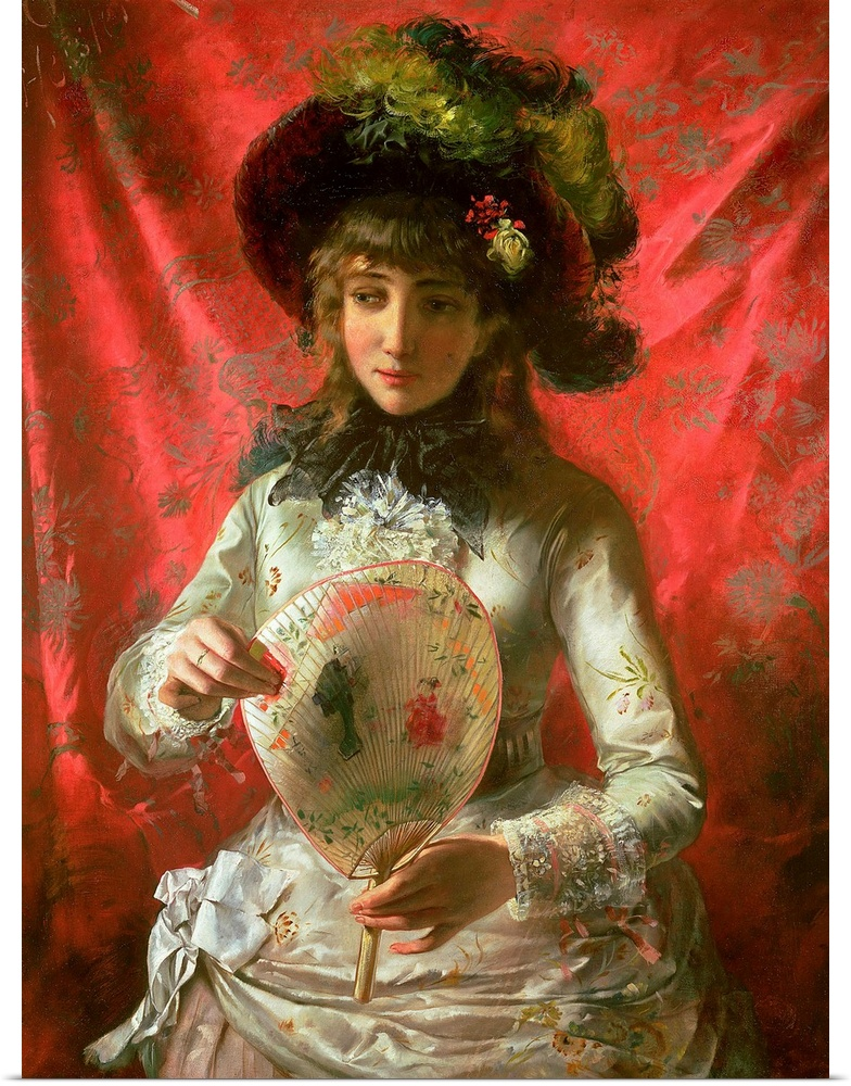 Poster Print Wall Art entitled Girl with a Fan