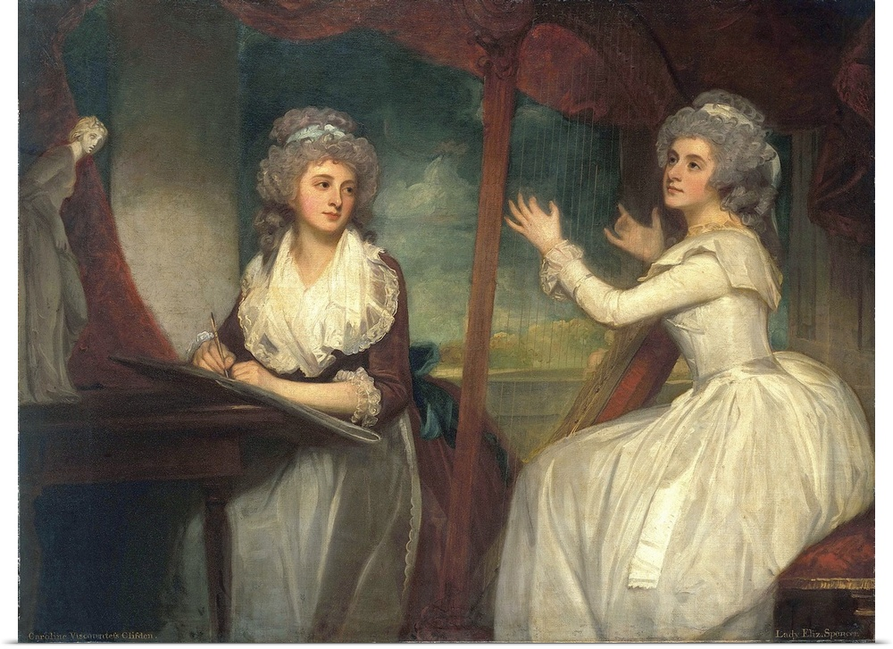Poster Print Wall Art entitled Lady Caroline Spencer, and her sister, Lady