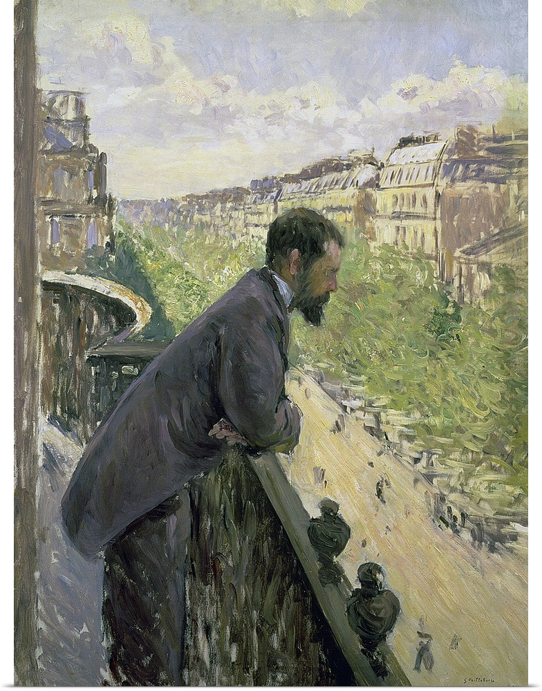 Poster Print Wall Art entitled Man on a Balcony, c.1880