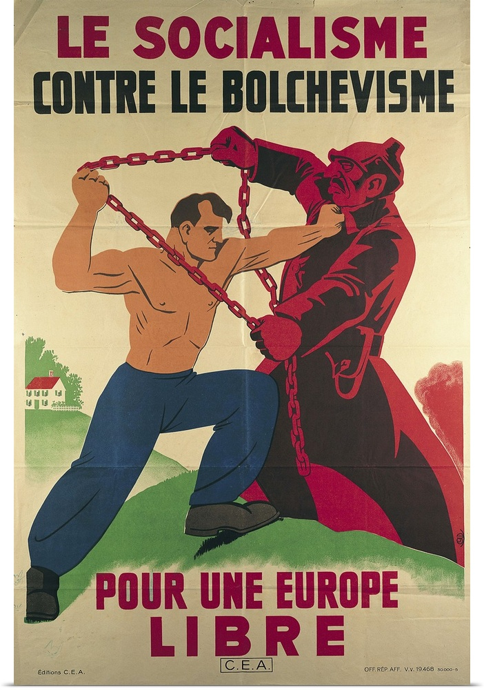 Poster Print Wall Art entitled Socialism Against Bolshevism for a Free Europe',