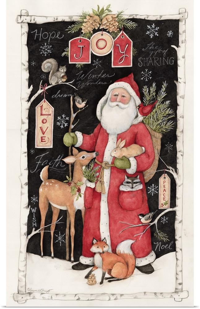 Poster Print Wall Art entitled Woodland Santa