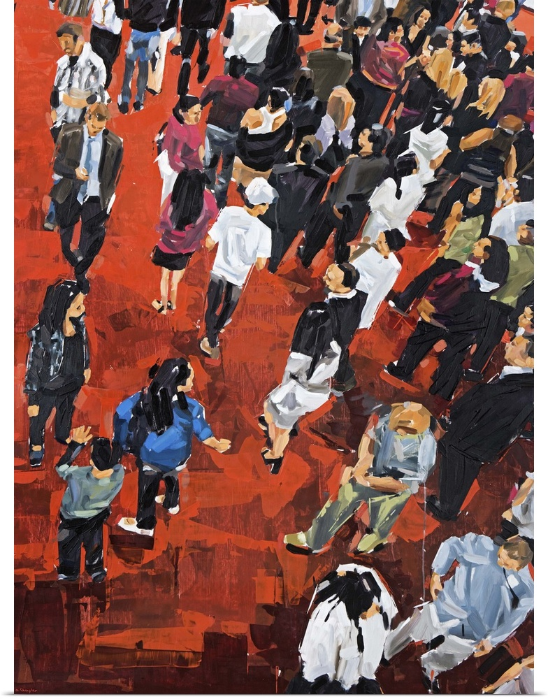 Poster Print Wall Art entitled People On rosso Carpet