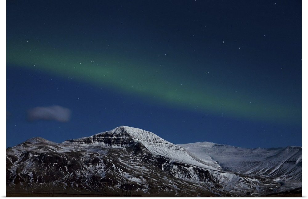 Poster Print Wall Art entitled Aurora Borealis in West Iceland.