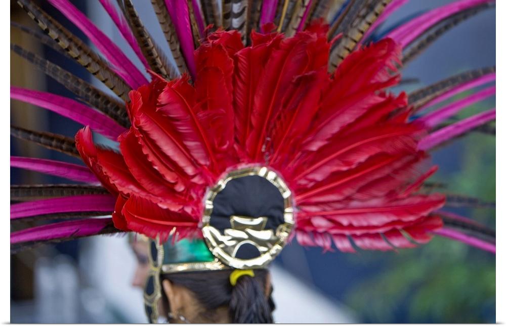 Poster Print Wall Art entitled Aztec feather head dress, Mazatlan, Sinaloa
