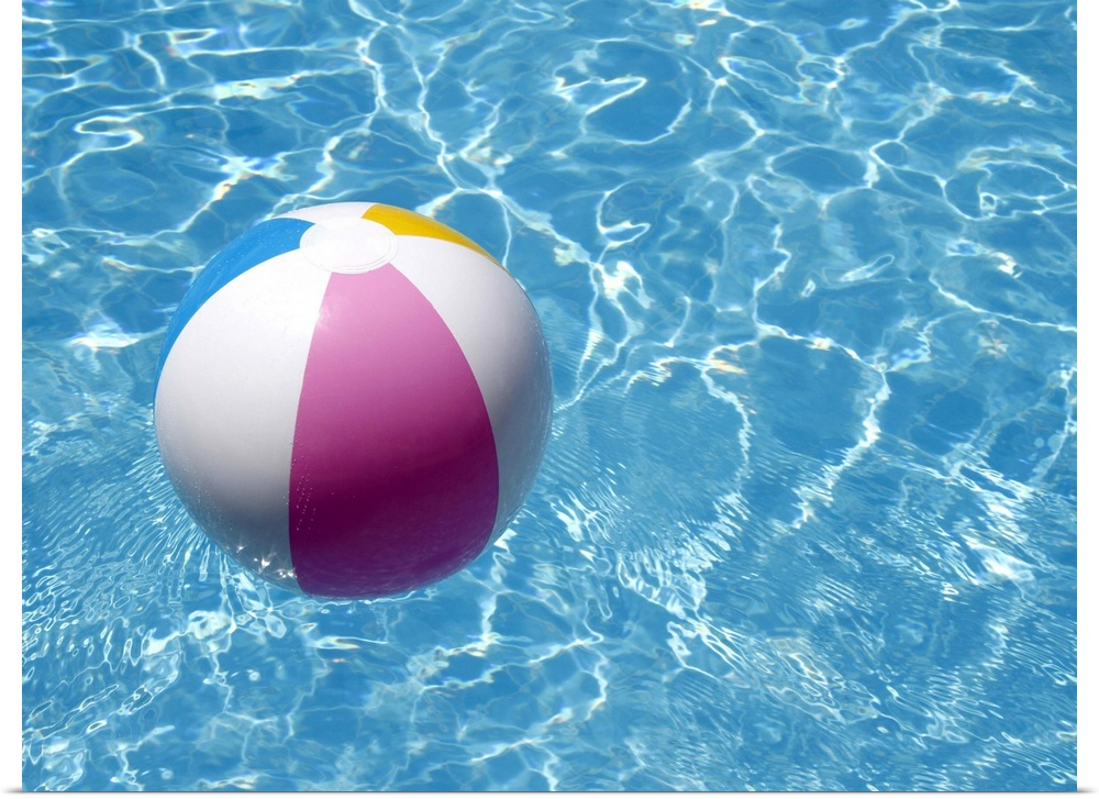Poster Print Wall Art entitled Beach ball in swimming pool the picture of summer