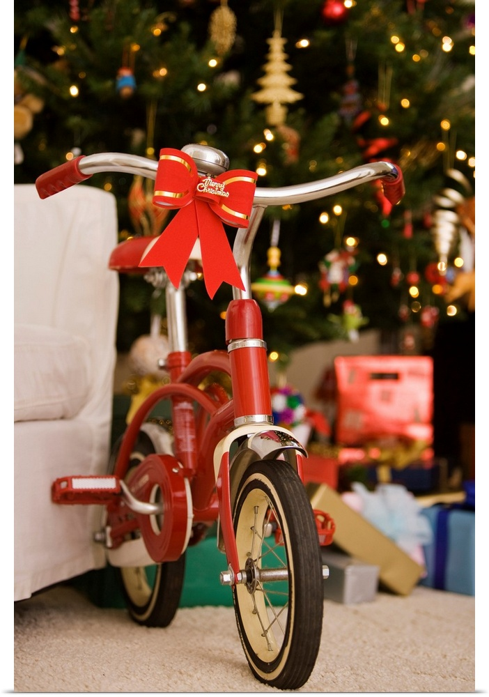 Poster Print Wall Art entitled Bicycle by Christmas tree