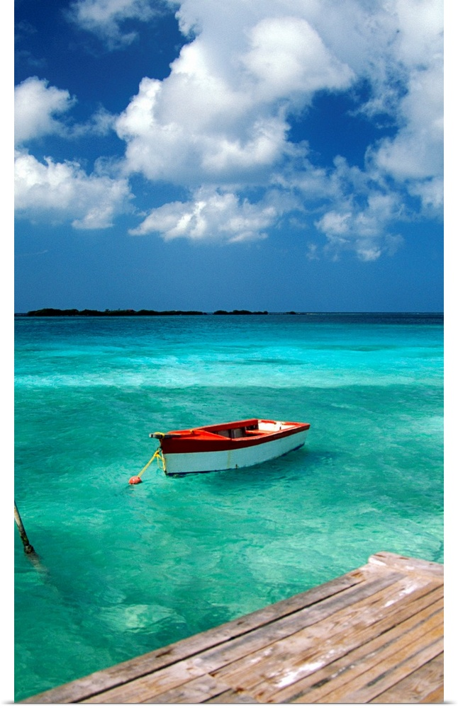 Poster Print Wall Art entitled Boat in water, Eagle Beach, Aruba