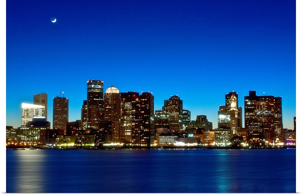 Poster Print Wall Art entitled Boston skyline with moon.