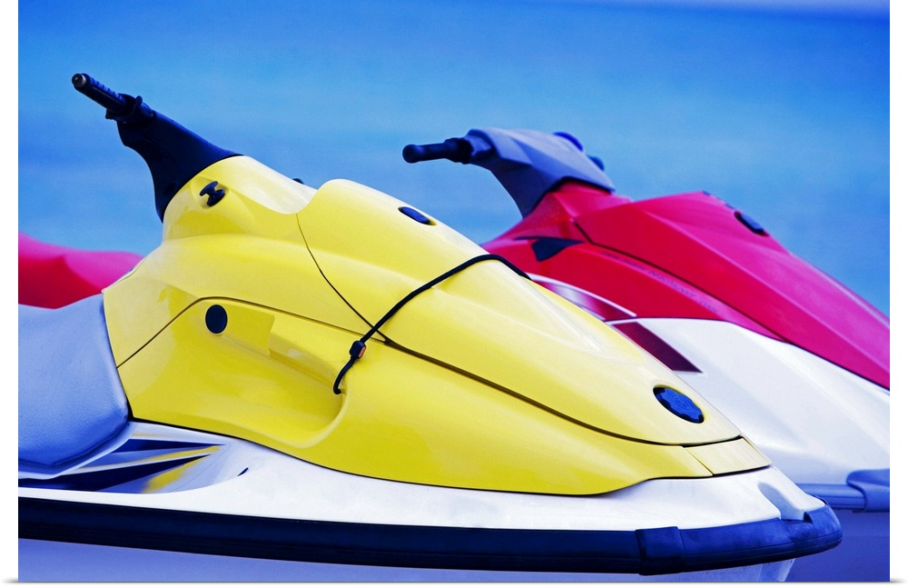 Poster Print Wall Art entitled Close-up of two jet ski's in the sea, South