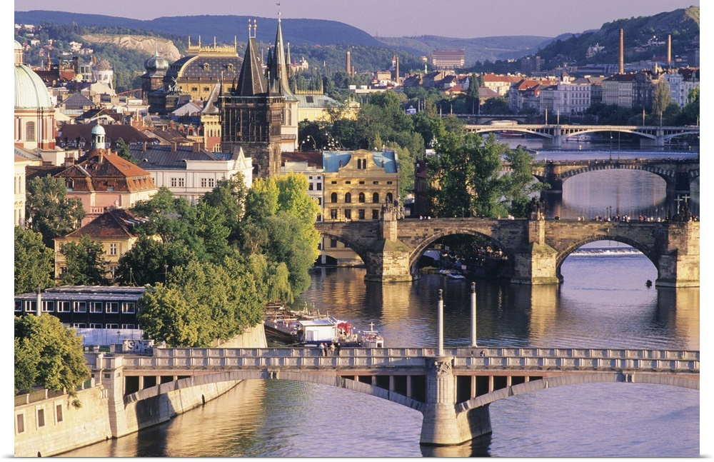 Poster Print Wall Art entitled Czech Republic, Prague, Charles Bridge and