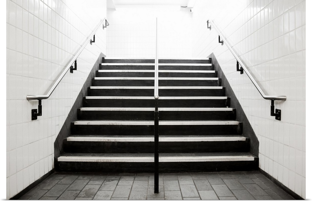 Poster Print Wall Art entitled Empty stairwell fading to bianca