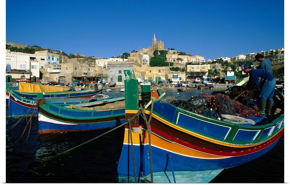 Poster Print Wall Art entitled Fishing boats moorosso in harbor, Malta