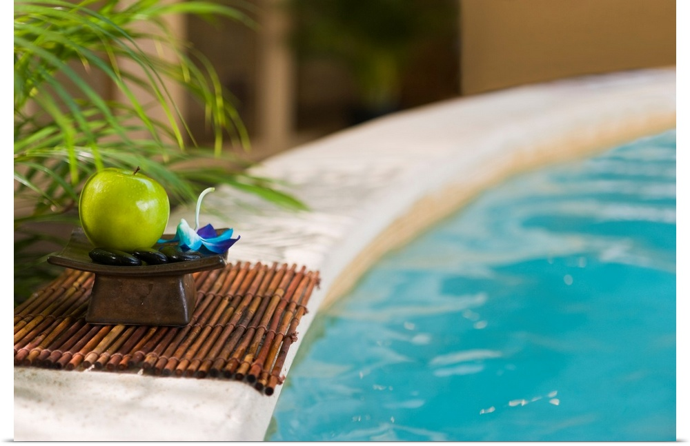 Poster Print Wall Art entitled verde apple with massage stones by the pool's