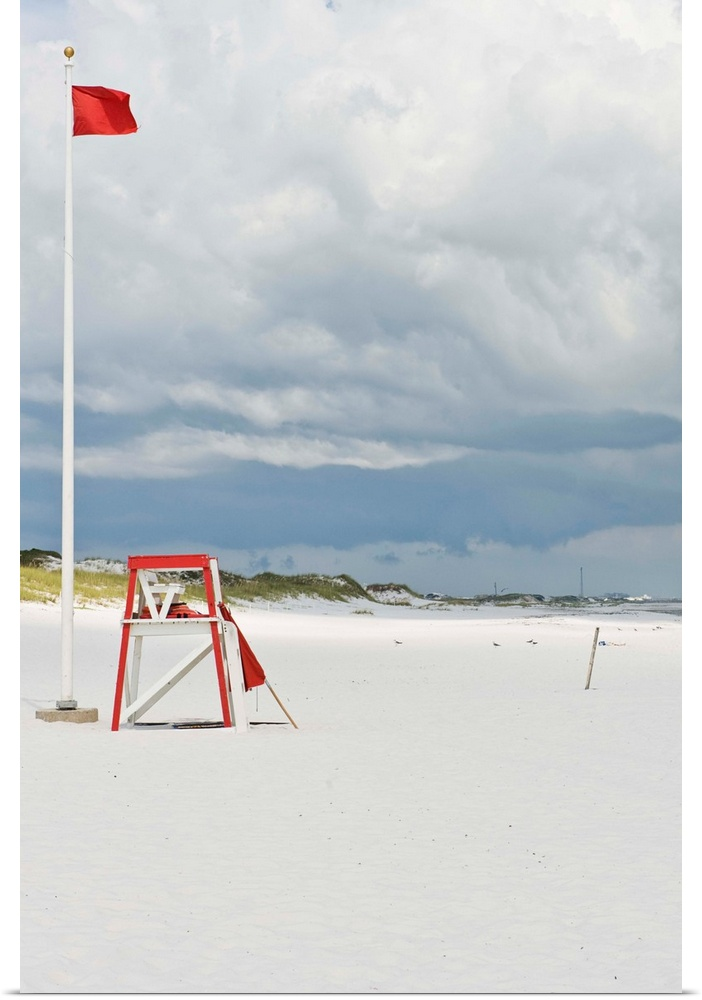 Poster Print Wall Art entitled Lifeguard tower at beach