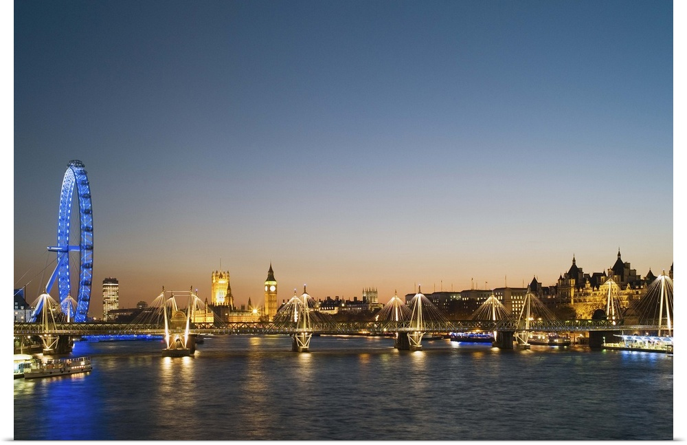 Poster Print Wall Art entitled London, view along River Thames towards Houses of