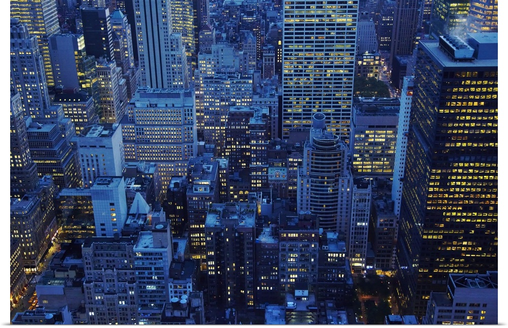 Poster Print Wall Art entitled NYC Skyline, high angle view at dusk