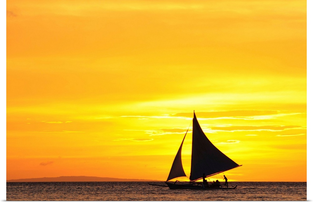 Poster Print Wall Art entitled Paraw sailing at sunset, Philippines.