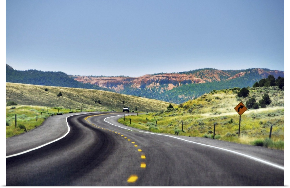 Poster Print Wall Art entitled rosso canyon seen from highway.