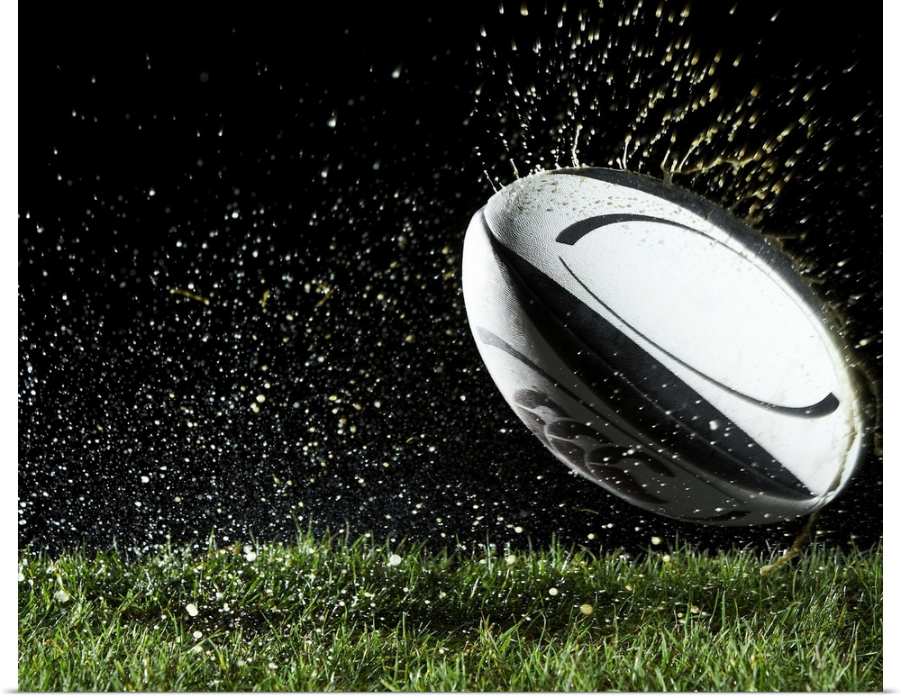 Poster Print Wall Art entitled Rugby ball in motion over grass