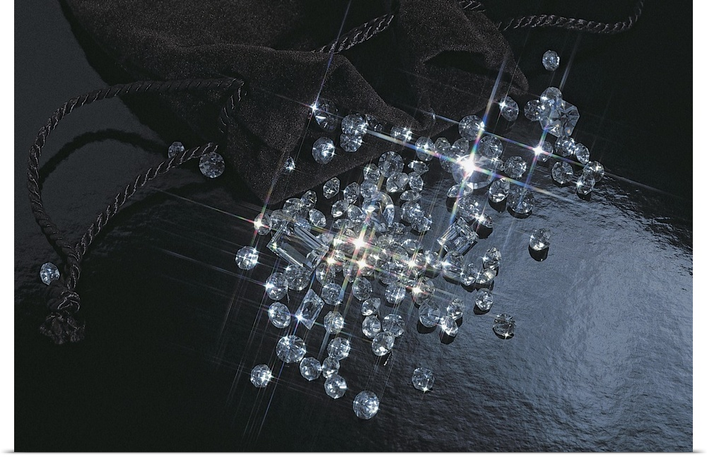 Poster Print Wall Art entitled Shimmering diamonds