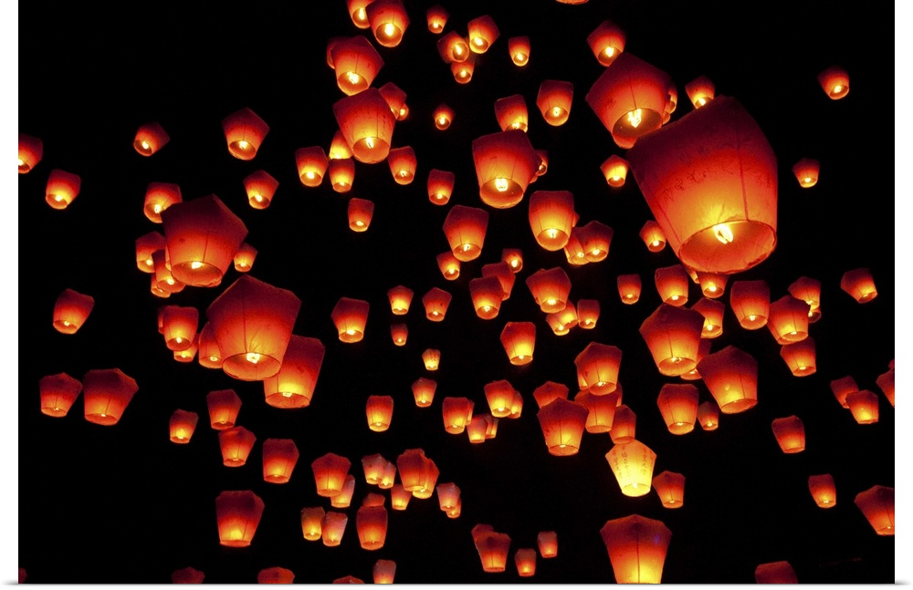 Poster Print Wall Art entitled Sky lanterns in Pinghsi.