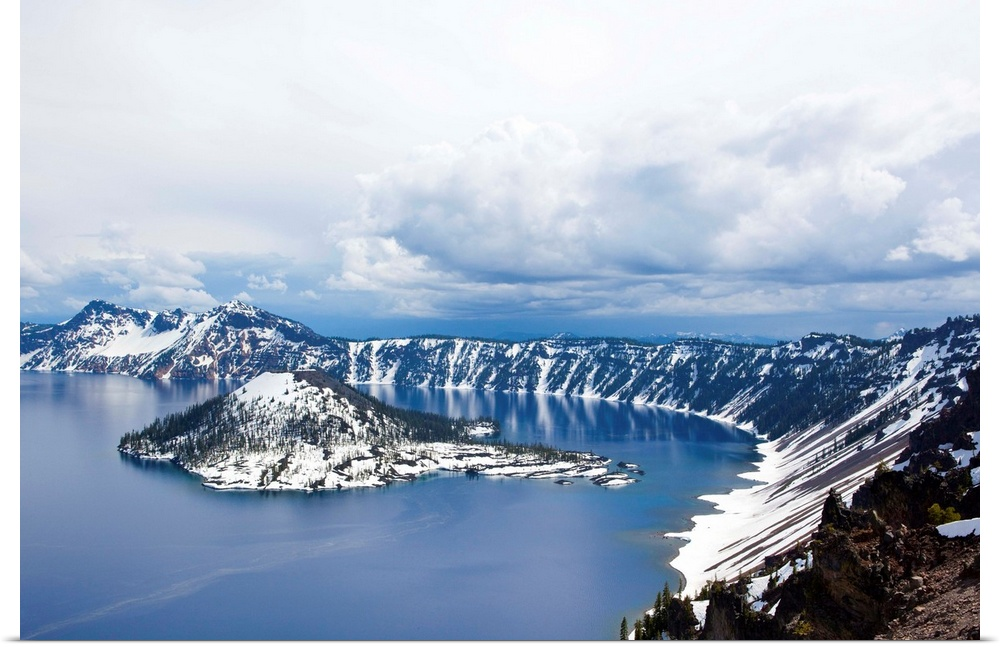 Poster Print Wall Art entitled View of a snow coverosso island in Crater Lake,