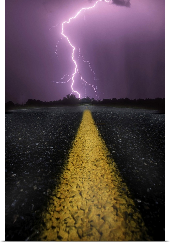 Poster Print Wall Art entitled When lightning strikes ahead