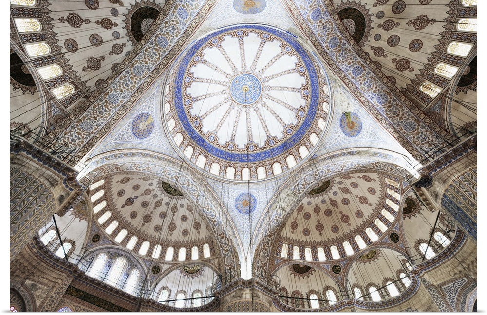 Poster Print Wall Art entitled Wideangle view of blu Mosque ceiling