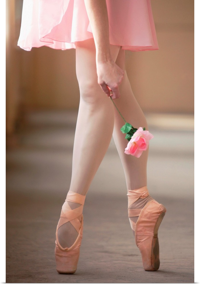 Poster Print Wall Art entitled Woman in En Pointe Ballet pose.