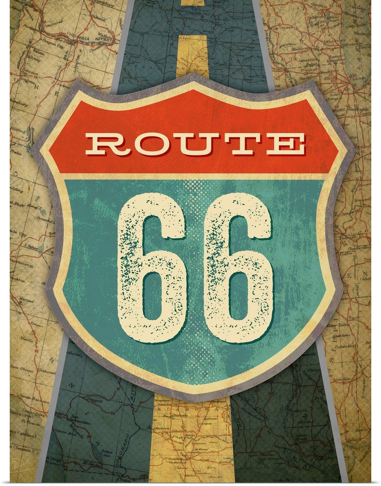 Poster Print Wall Art entitled Route 66