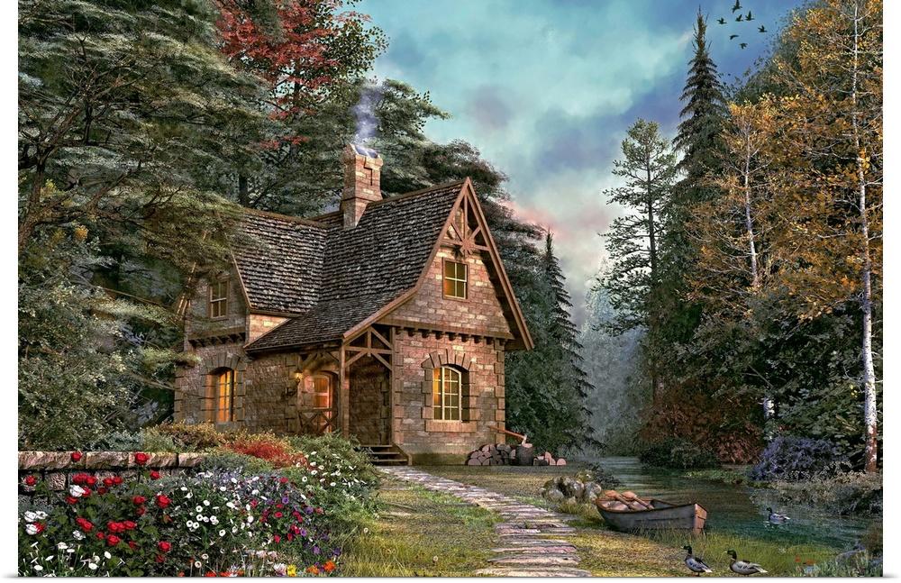 Poster Print Wall Art entitled Woodland Cottage