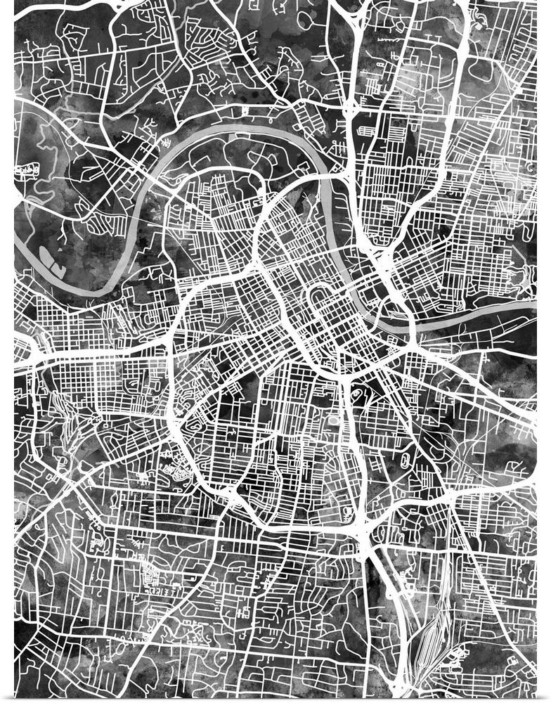 image relating to Printable Map of Nashville named Information above Poster Print Wall Artwork enled Nashville Tennessee Metropolis Map