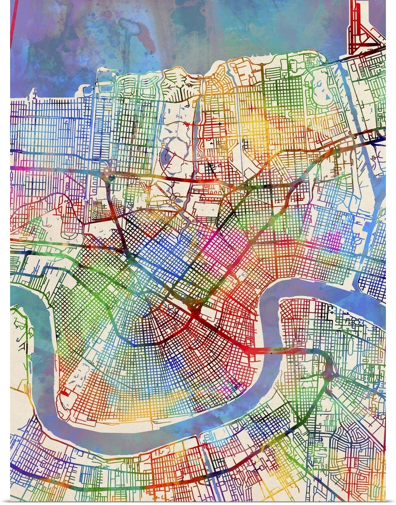 photo relating to Printable Map of New Orleans named Data in excess of Poster Print Wall Artwork enled Contemporary Orleans Highway Map