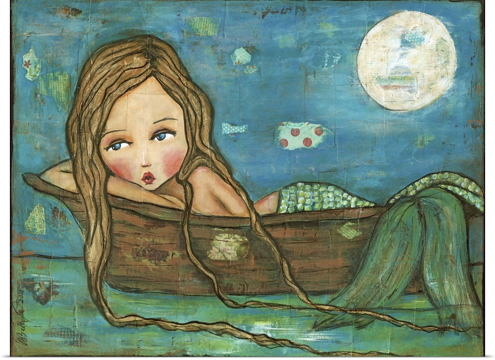 Poster Print Wall Art entitled Mermaid on a Boat