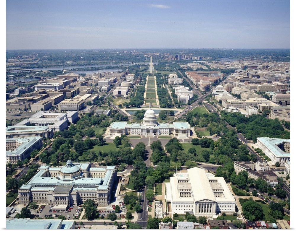 Poster Print Wall Art entitled Aerial view of buildings in a city, Washington DC