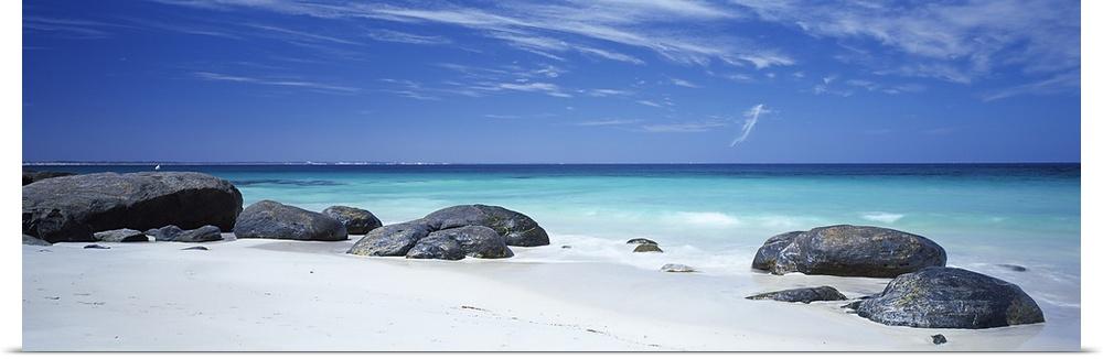 Poster Print Wall Art entitled Boulders on the beach, Flinders Bay, Western