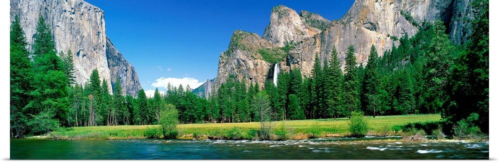 Poster Print Wall Art entitled Bridal Veil Falls Yosemite National Park CA