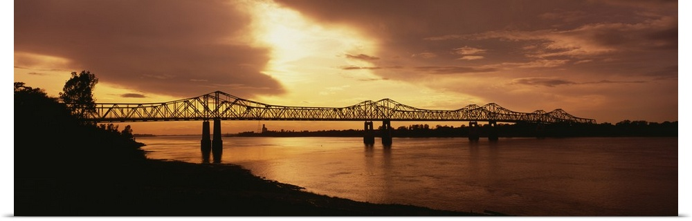 Poster Print Wall Art entitled Bridge across a river, Mississippi River,