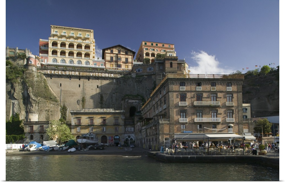 Poster Print Wall Art entitled Buildings at the waterfront, Sorrento, Naples,